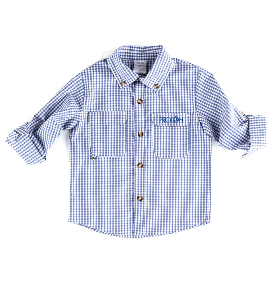 Prodoh Gingham Fishing Shirt Small Check Colony Blue / 2T - Doodlebug's Children's Boutique