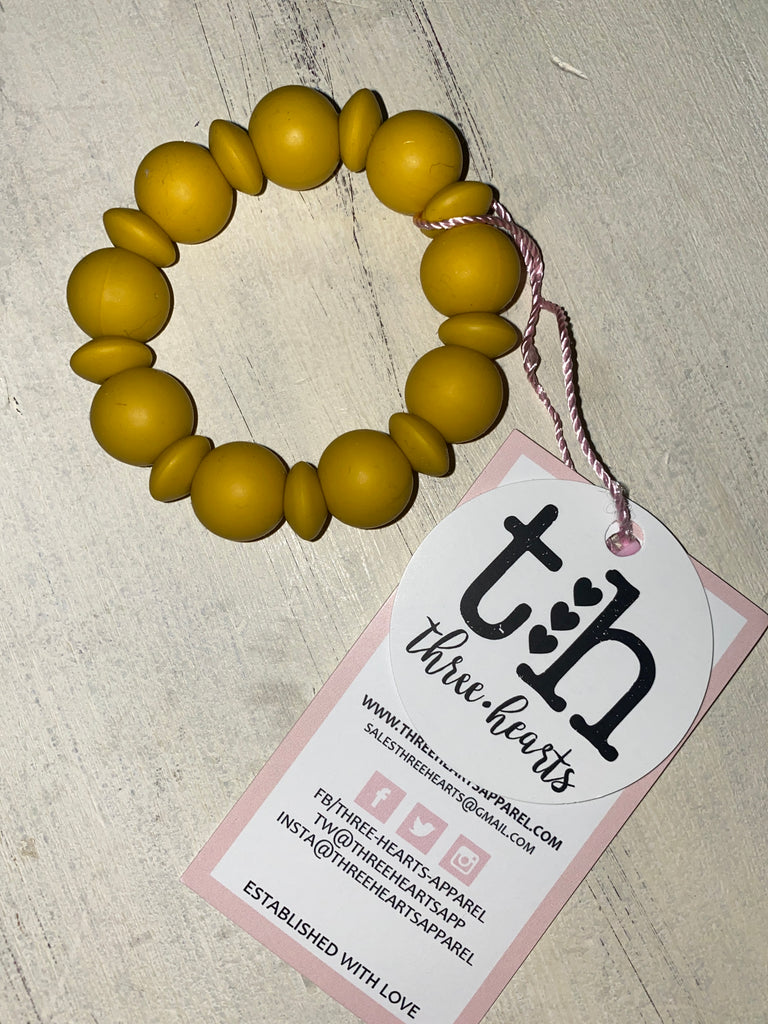 Adelia Teething Ring and Bracelet in Mustard  - Doodlebug's Children's Boutique