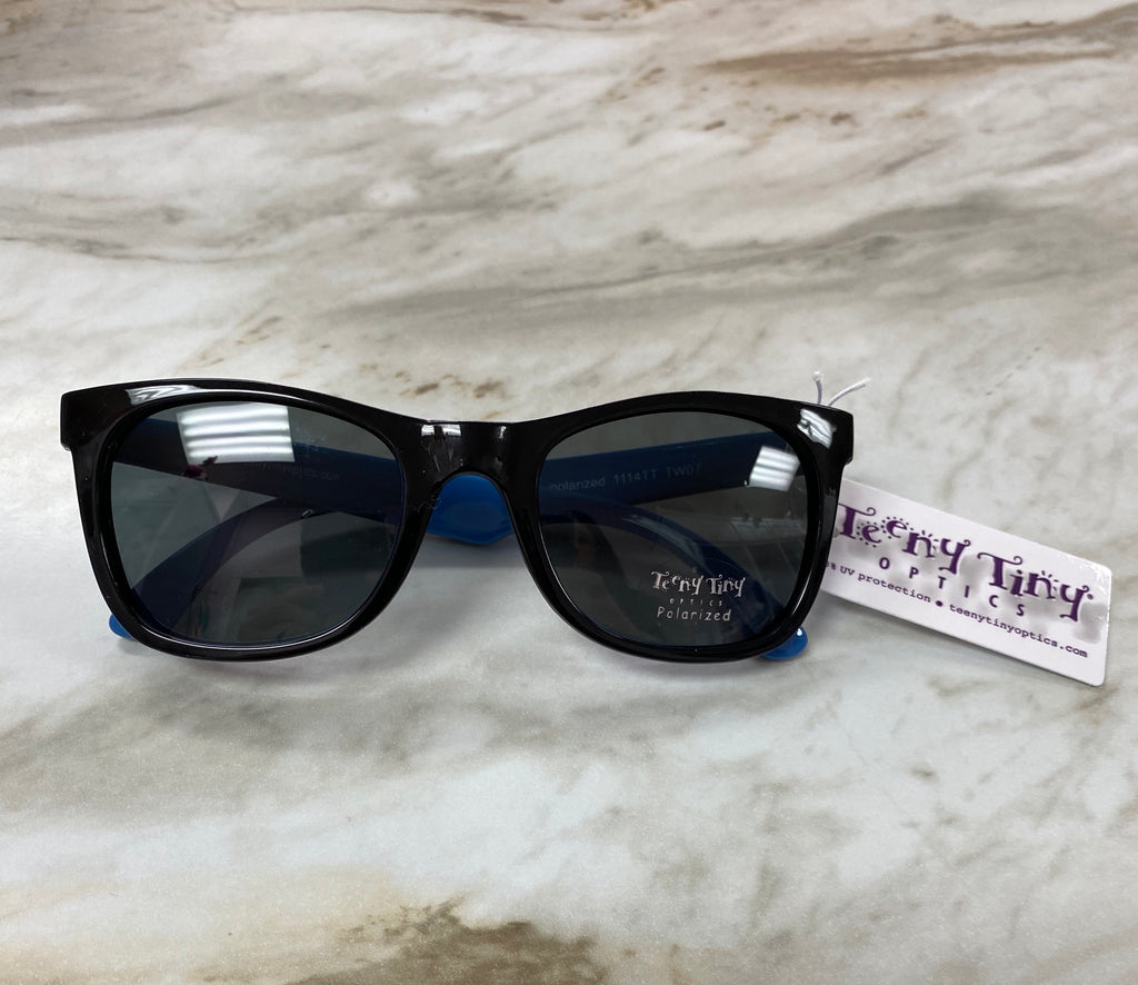 Black and Blue Jackie Polarized Sunglasses Black with Blue Inside - Doodlebug's Children's Boutique