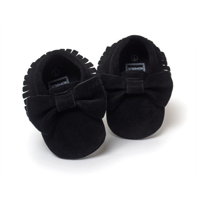 Black Velvet Bow Moccasins  - Doodlebug's Children's Boutique