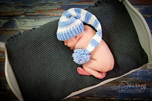 Blue Finley Hat 0-6 months - Doodlebug's Children's Boutique