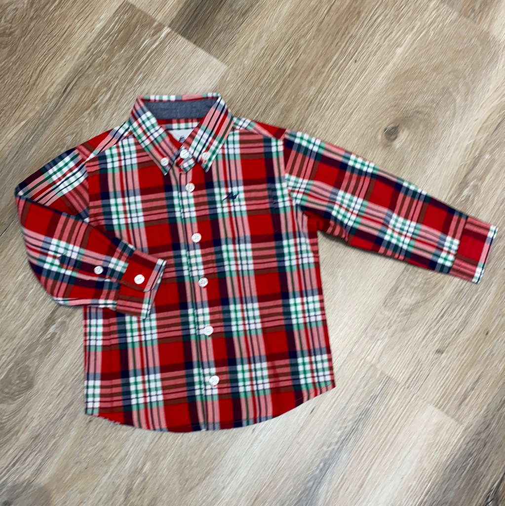 Dress Shirt In Christmas Plaid  - Doodlebug's Children's Boutique