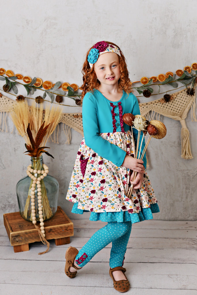 Teal Floral Pocket Dress with Legging and Headband  - Doodlebug's Children's Boutique