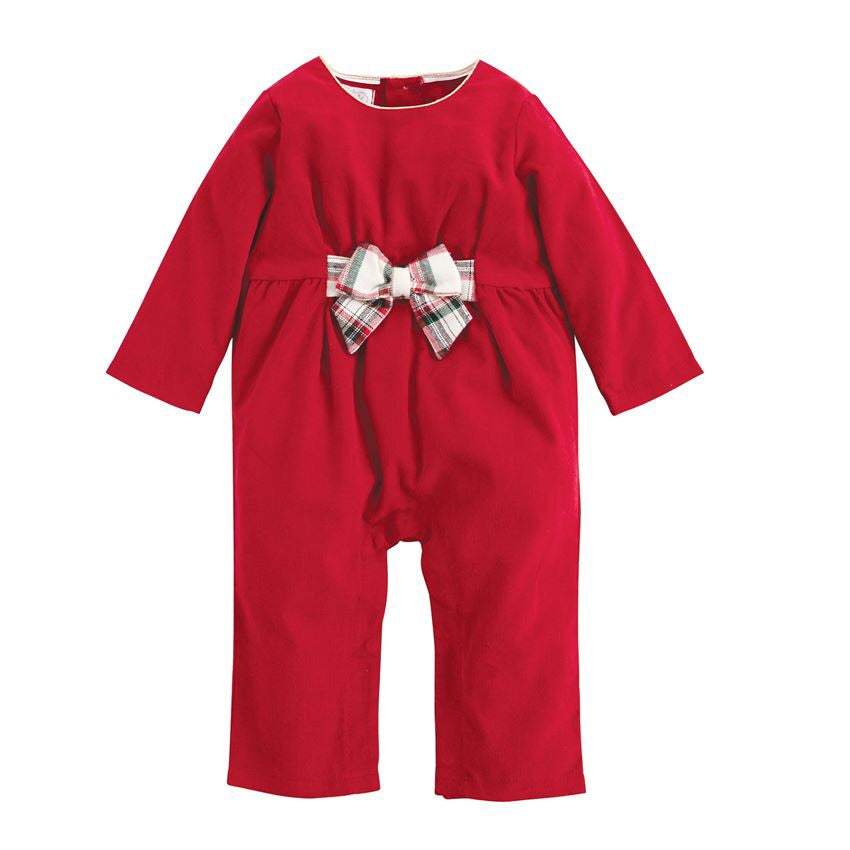 Tartan Corduroy One-Piece  - Doodlebug's Children's Boutique