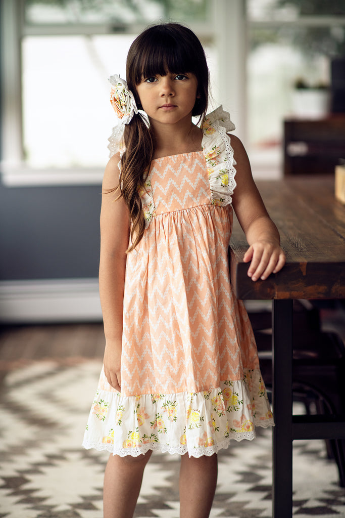 Tangerine Dress in Honey Blossom  - Doodlebug's Children's Boutique