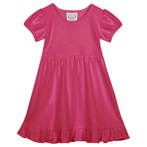 Blanks Boutique Short Sleeve Ruffle Dress Hot Pink / 2T - Doodlebug's Children's Boutique