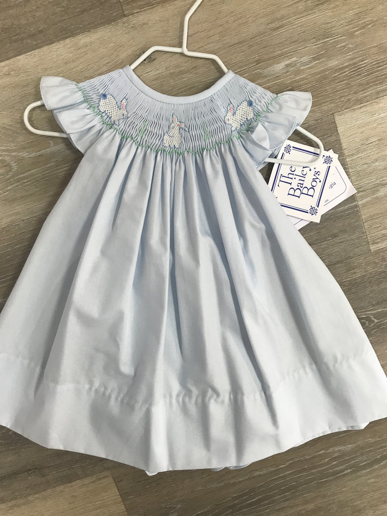 Smocked Easter Dress in Blue  - Doodlebug's Children's Boutique