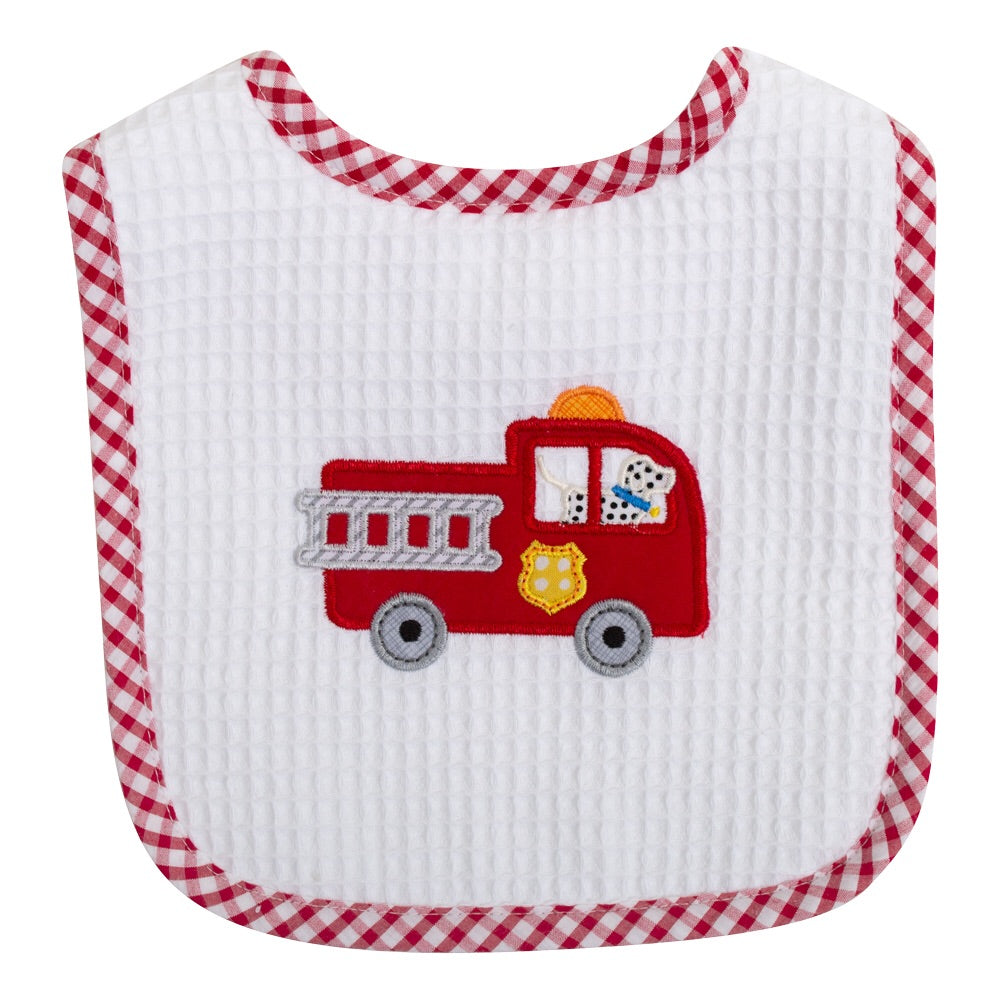 Fire Truck Feeding Bib Fire Truck - Doodlebug's Children's Boutique