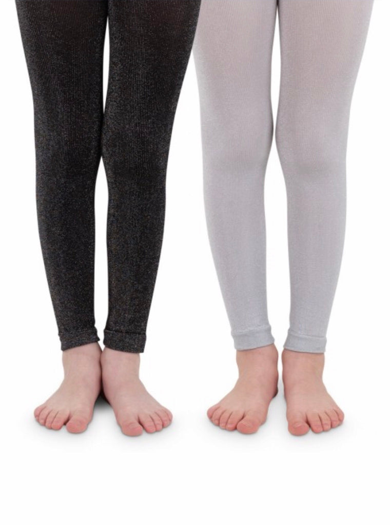 Sparkly Footless Tights in Silver  - Doodlebug's Children's Boutique