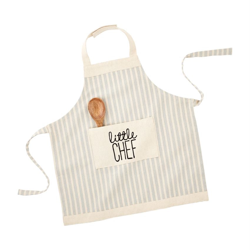Blue Striped Apron and Spoon Set  - Doodlebug's Children's Boutique