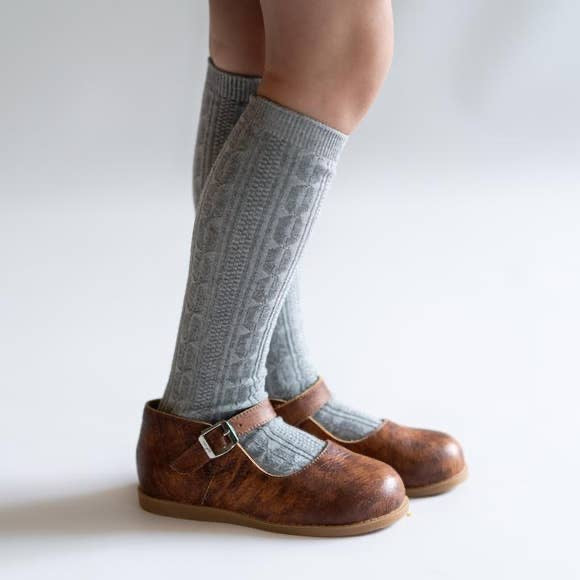Cable Knit Knee High Socks in Gray  - Doodlebug's Children's Boutique