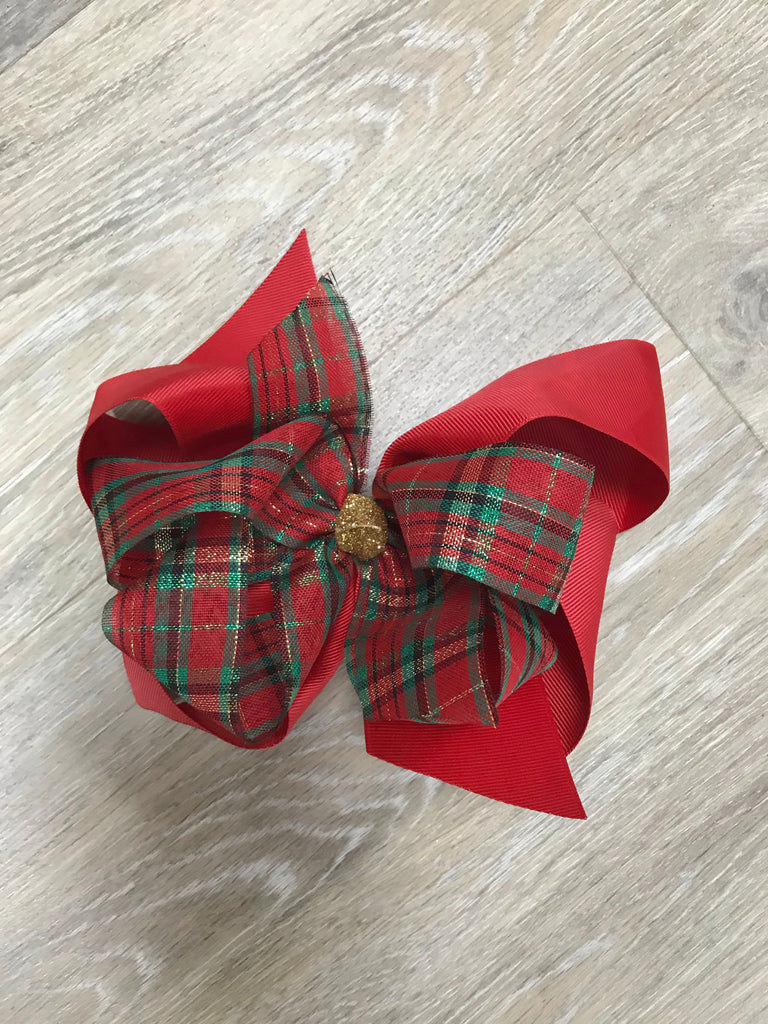 Glitter Christmas Plaid Bow Glitter Plaid - Doodlebug's Children's Boutique