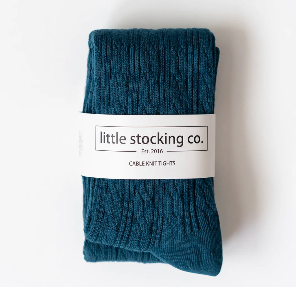 Cable Knit Tights in Teal  - Doodlebug's Children's Boutique
