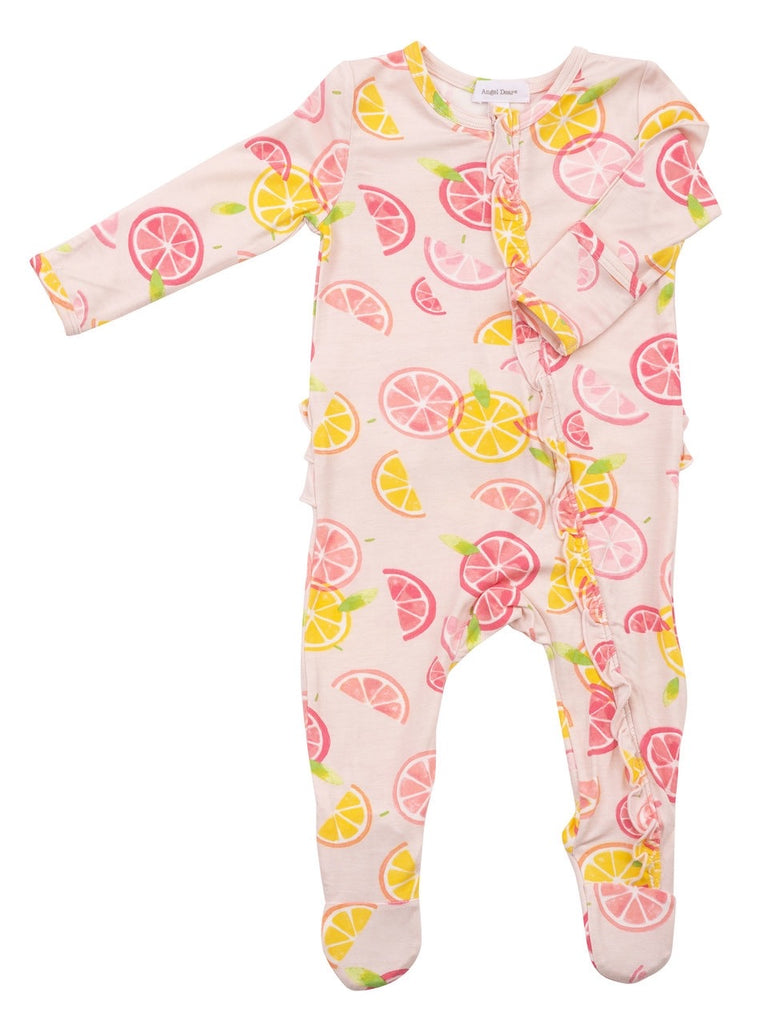 Zipper Footie in Citrus  - Doodlebug's Children's Boutique