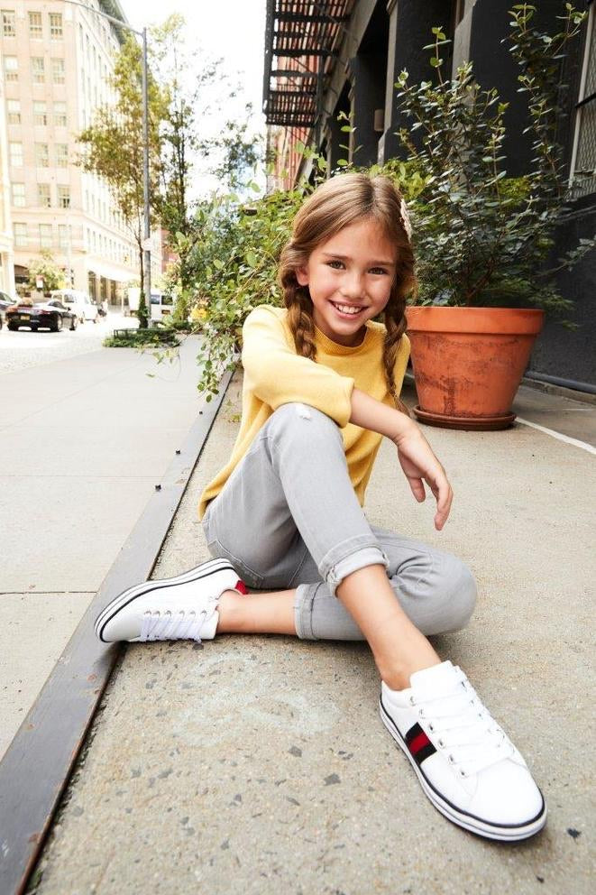 Alexa Stripe Lace Sneakers in White  - Doodlebug's Children's Boutique
