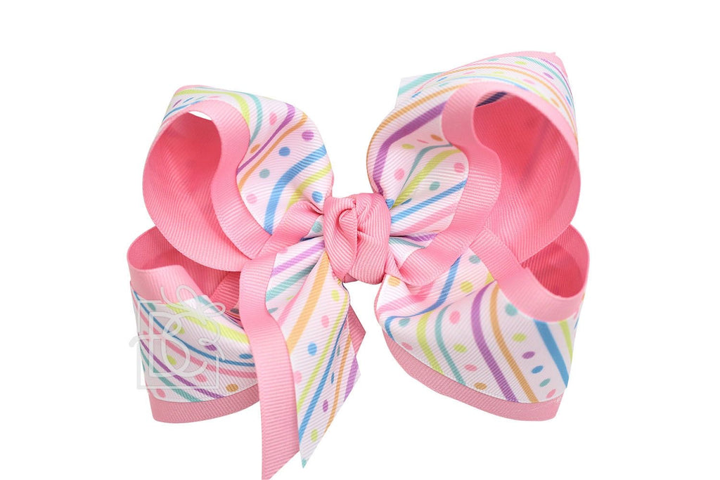 Jumbo Pink Pastel Dots Bow  - Doodlebug's Children's Boutique