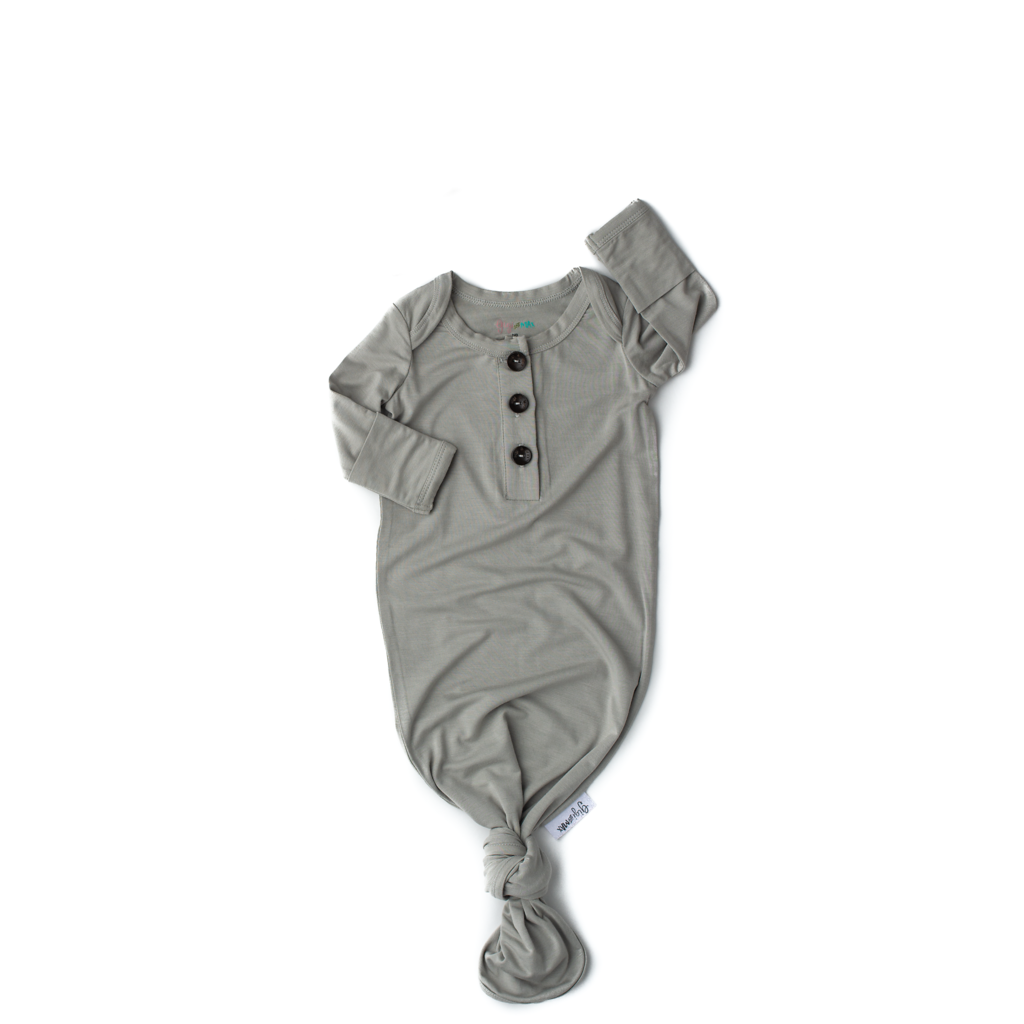 Oliver Signature Tie Button Gown Newborn - Doodlebug's Children's Boutique