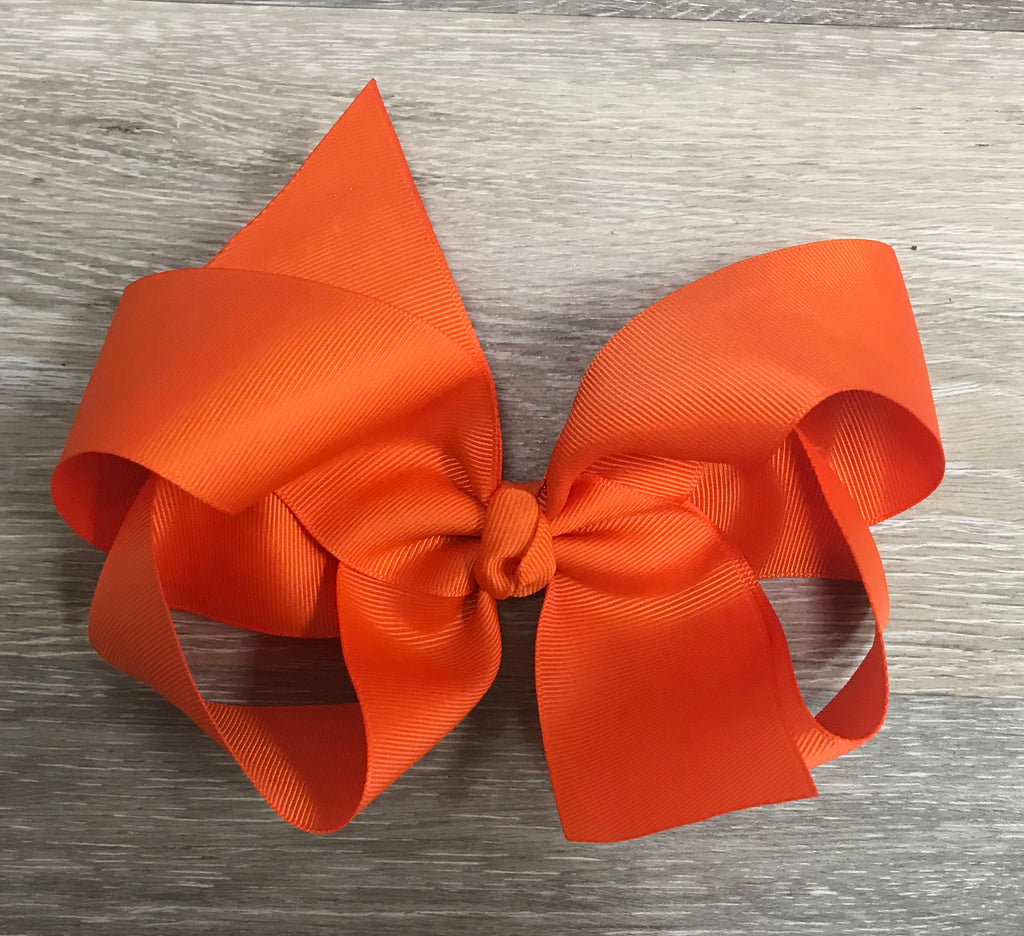 Large Solid Hair Bow in Orange Orange - Doodlebug's Children's Boutique