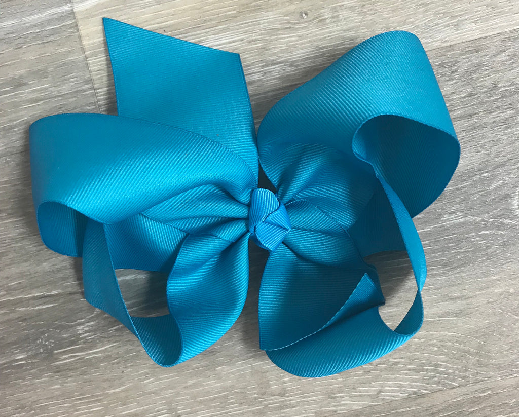 Turquoise Large Solid Hair Bow Turquoise - Doodlebug's Children's Boutique
