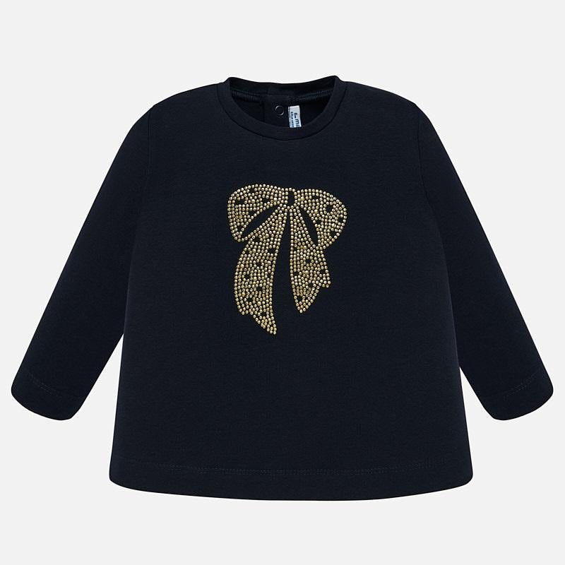 Navy Long Sleeve Top with Bow  - Doodlebug's Children's Boutique