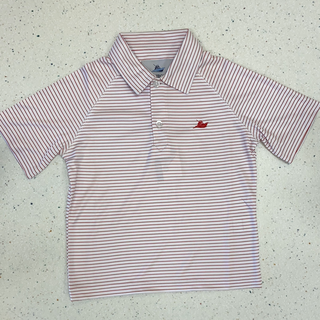 Polo in Red and White  - Doodlebug's Children's Boutique