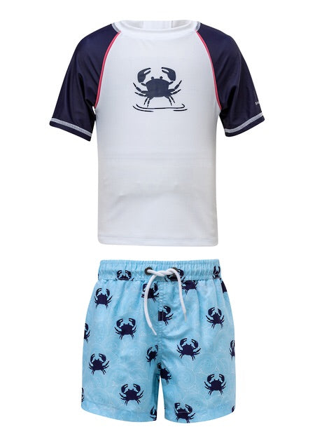 SnapperRock Baby Short Sleeve Rash Guard and Boardies Set