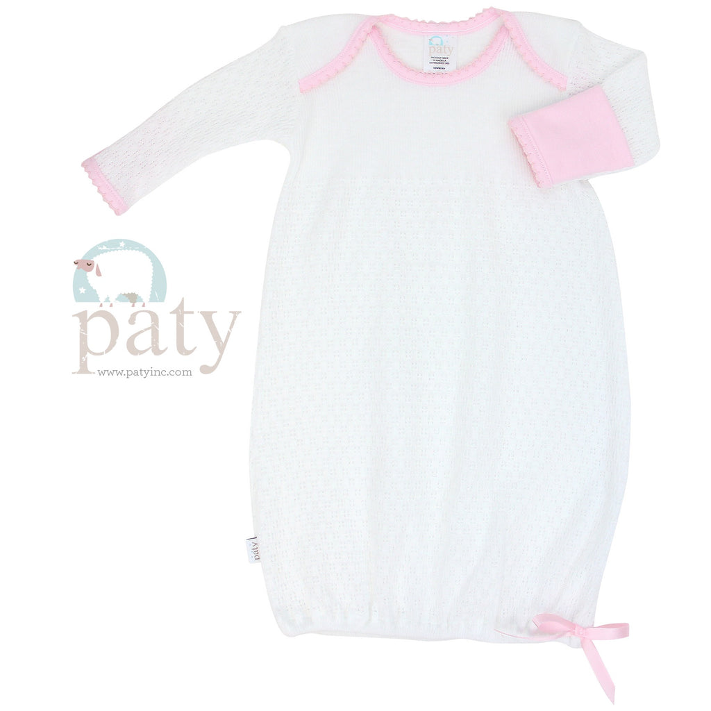 White Gown with Pink Cotton Trim Newborn - Doodlebug's Children's Boutique