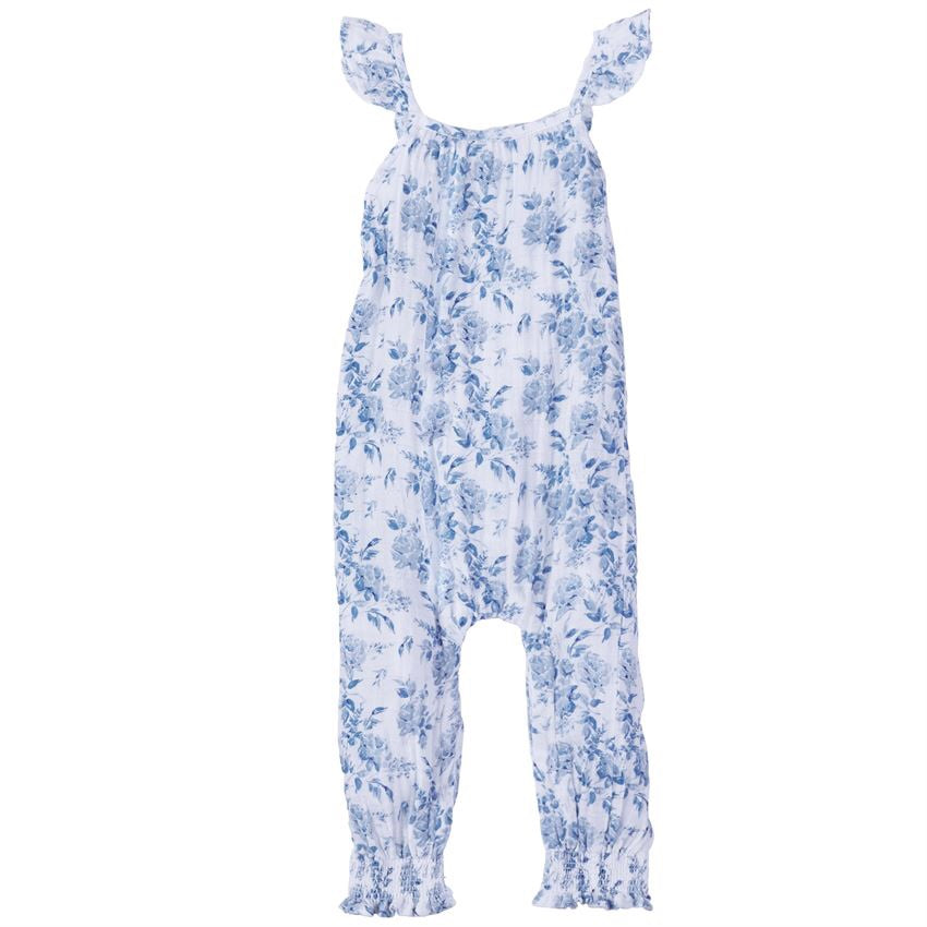 Mud Pie Muslin Blue Floral Romper