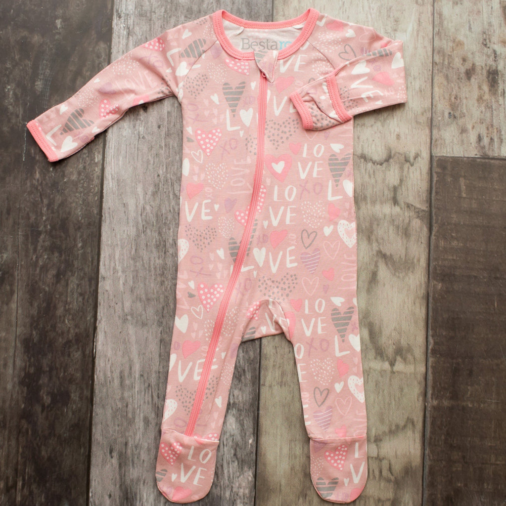 Love Zippered Footie  - Doodlebug's Children's Boutique