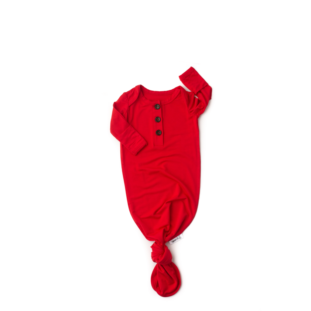 Valentine Signature Tie Button Gown Newborn - Doodlebug's Children's Boutique