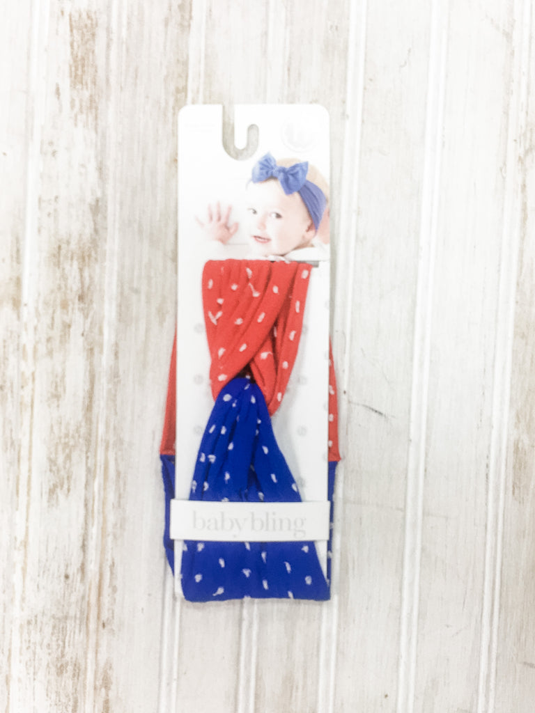Red and Blue Twisted Headband  - Doodlebug's Children's Boutique
