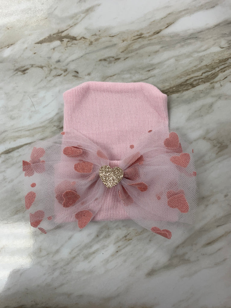 White with Pink Glitter Hearts Bow Cutie Newborn Hat White with Pink Glitter Hearts Bow - Doodlebug's Children's Boutique