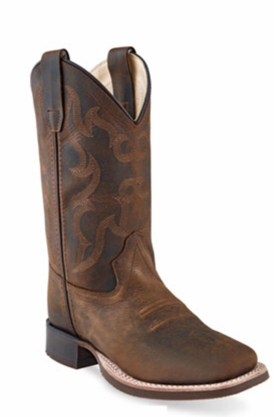 Old West Brown Square Toe Boot  - Doodlebug's Children's Boutique