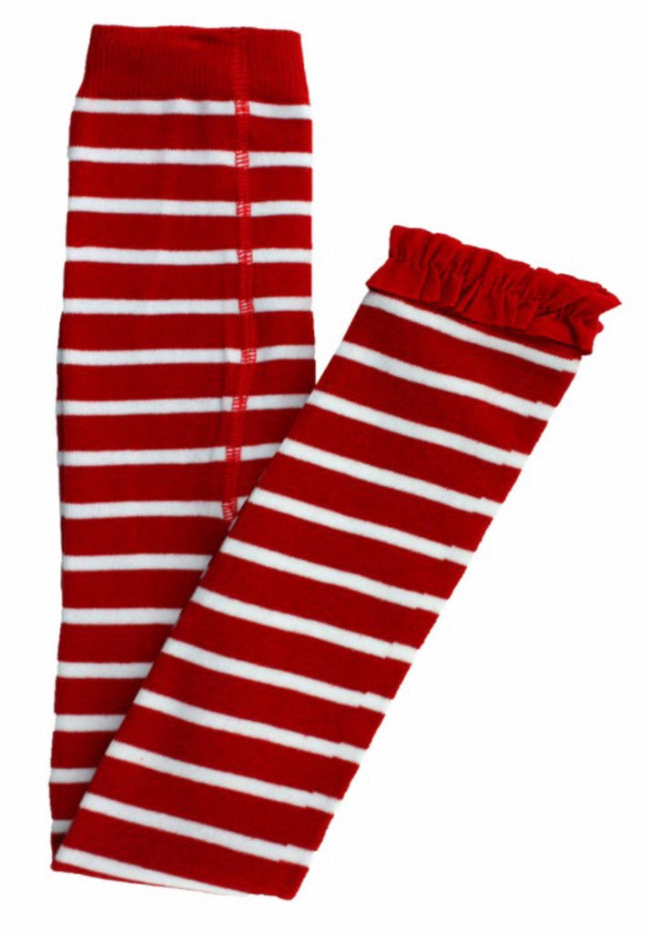 Red Stripe Footless Ruffle Tights Red Stripe / 0-6 months - Doodlebug's Children's Boutique