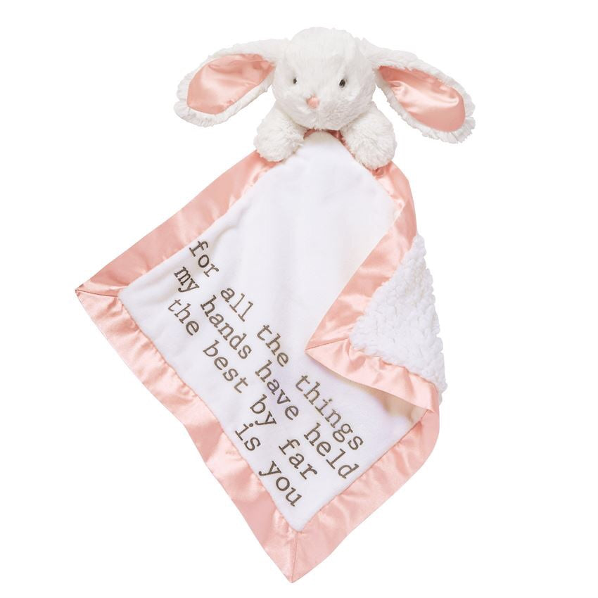Bunny Word Velour Woobie Bunny / For all the things my hands have held the best by far is you - Doodlebug's Children's Boutique