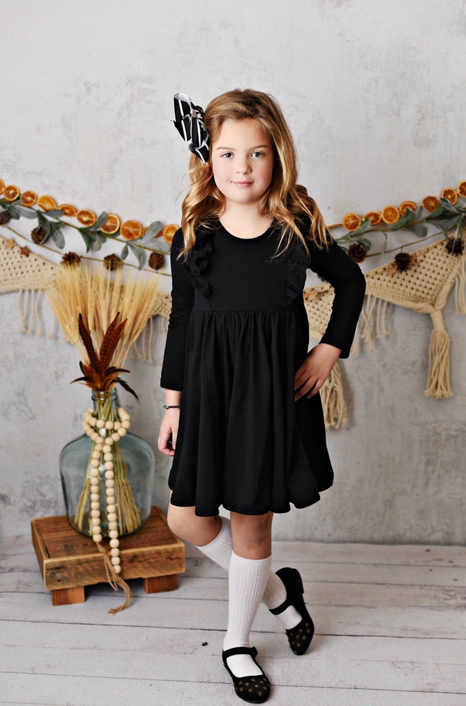 Black Bella Essentials Pocket Dress  - Doodlebug's Children's Boutique