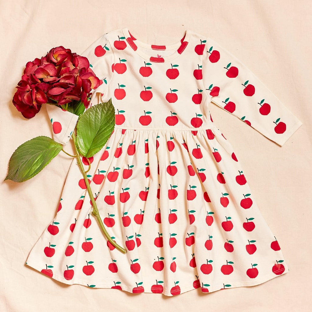 Organic Steph Dress in Antique White Apples  - Doodlebug's Children's Boutique