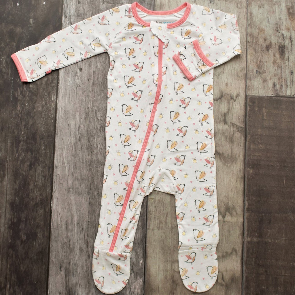 Birds and Bees Zippered Footie  - Doodlebug's Children's Boutique