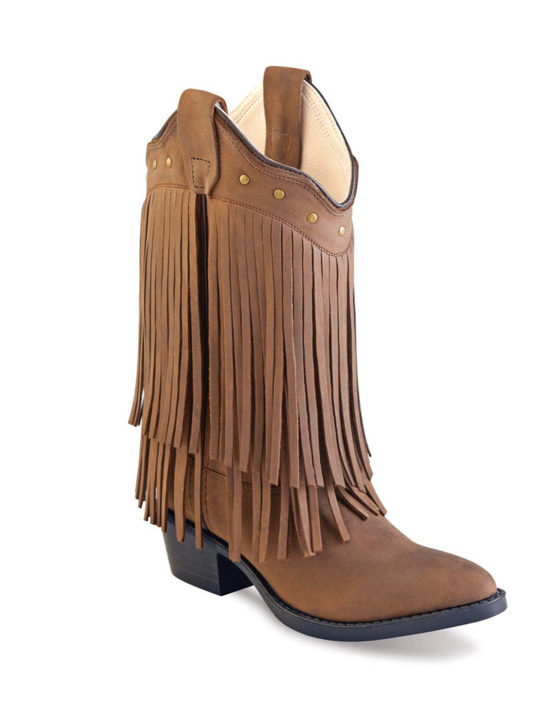 Old West Brown Fringe Youth Boots