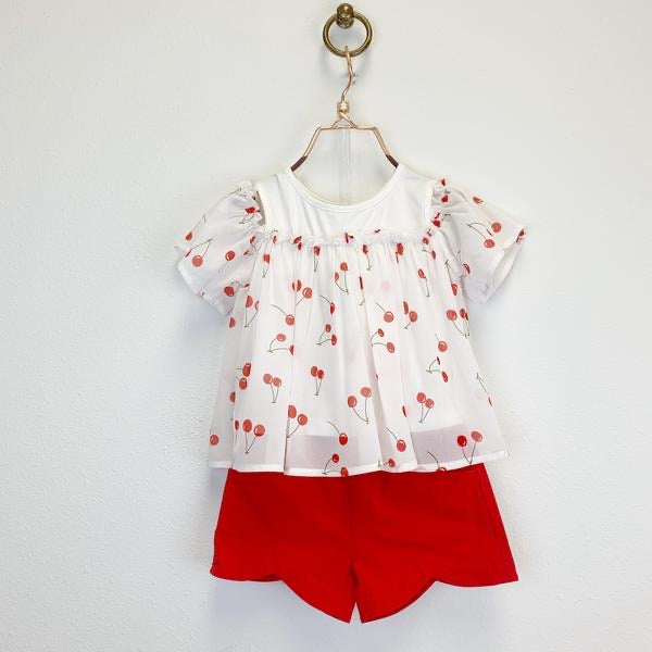 Scalloped Shorts in Red  - Doodlebug's Children's Boutique