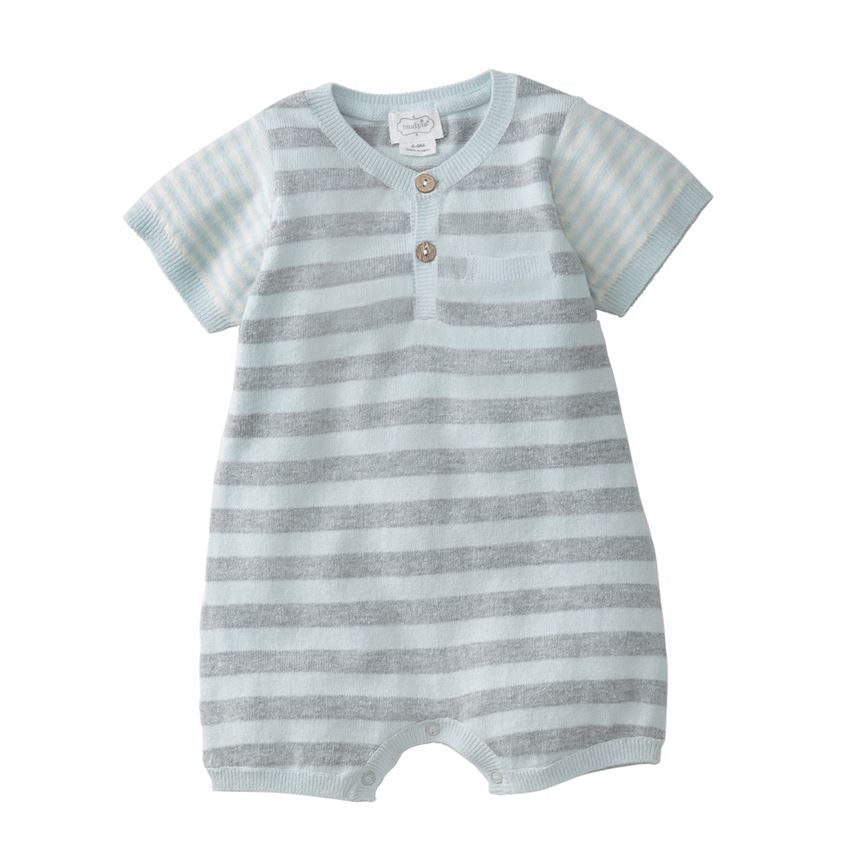 Blue Stripe Knitted Romper  - Doodlebug's Children's Boutique