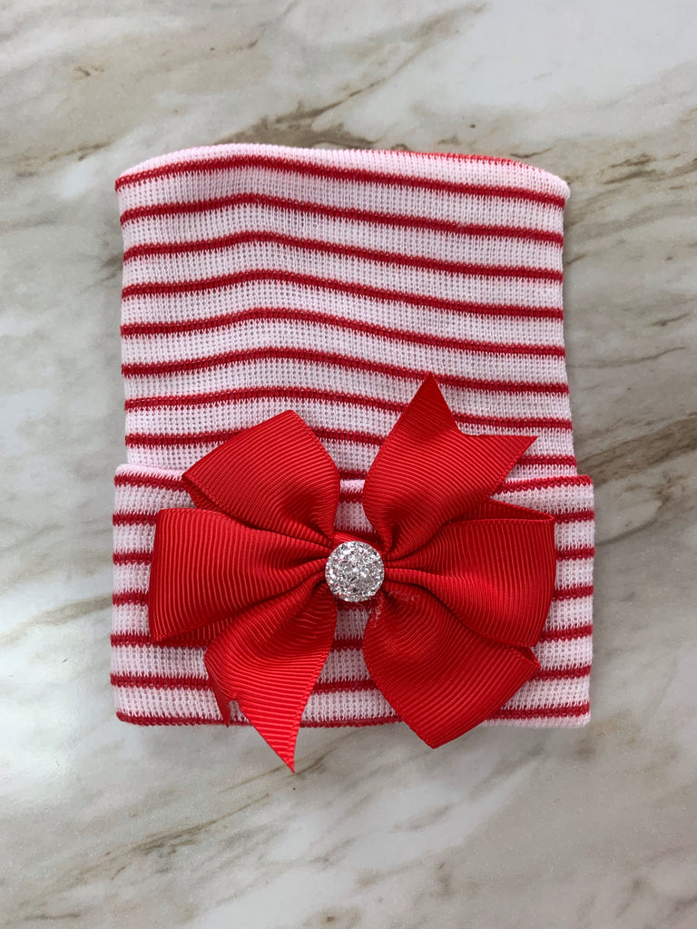Red Stripe with Bow Cutie Newborn Hat Red Stripe with Bow - Doodlebug's Children's Boutique