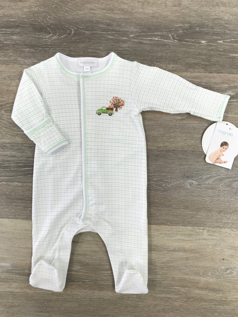 Magnolia Baby Fall Farm Embroidered Footie