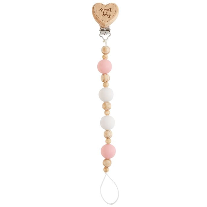 Sweet Baby Heart Wood and Silicone Bead Pacy Clip  - Doodlebug's Children's Boutique