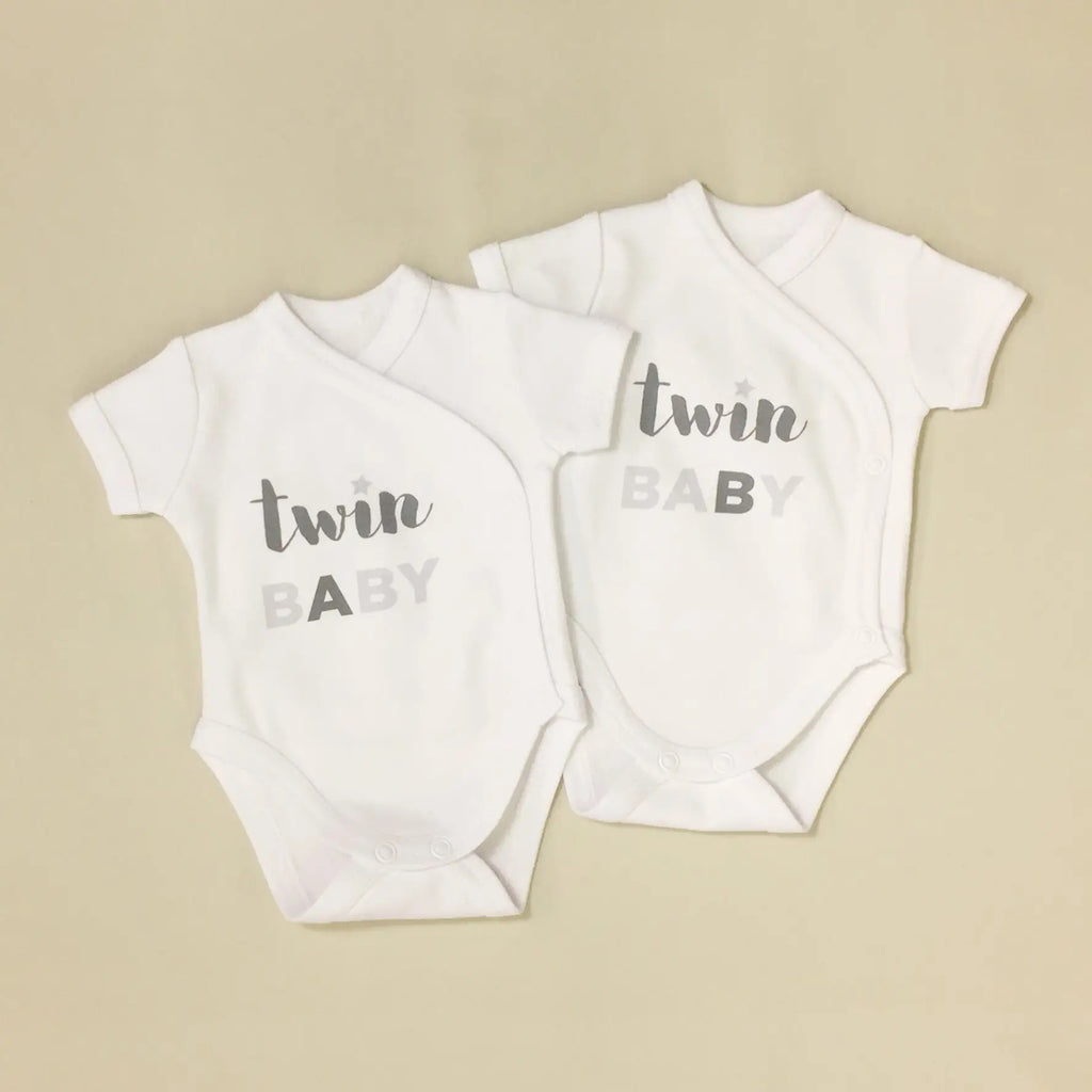 Twin Baby Kimono Onesie in White  - Doodlebug's Children's Boutique
