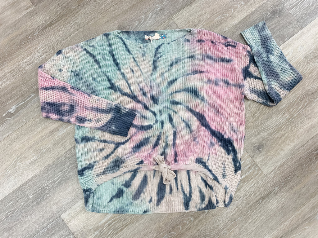 Winter Tie Dye Boat Neck Sweater