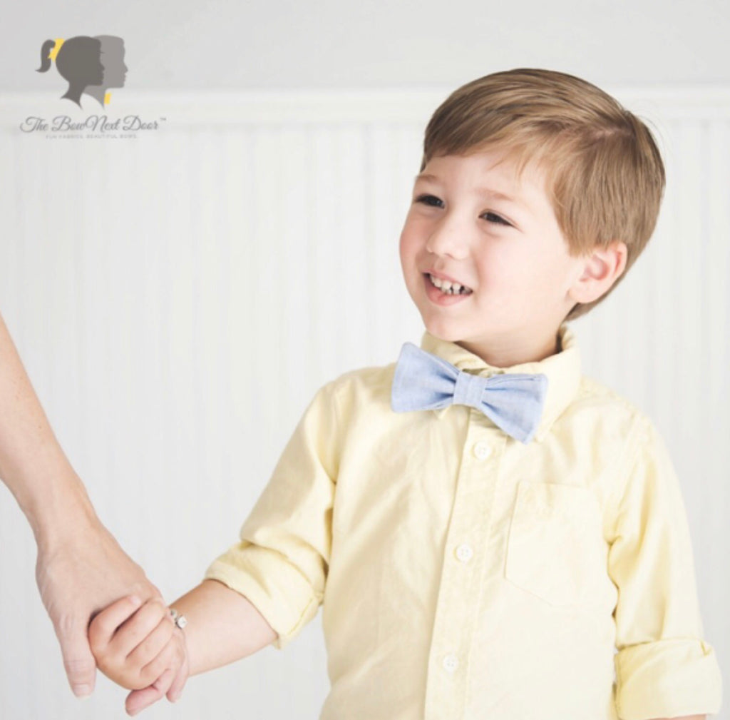 Carter Bow Tie in Chambray  - Doodlebug's Children's Boutique