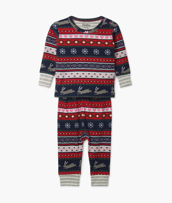 Fair Isle Bunnies Organic Cotton Baby Pajama Set  - Doodlebug's Children's Boutique