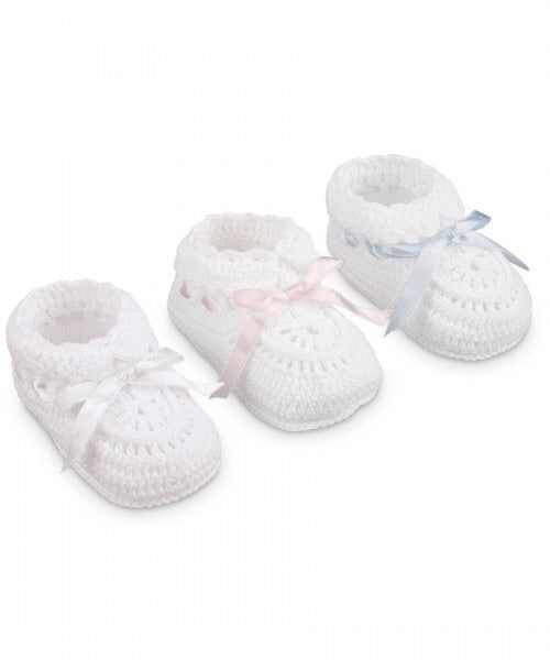 Hand Crochet Booties White with Blue Bow  - Doodlebug's Children's Boutique