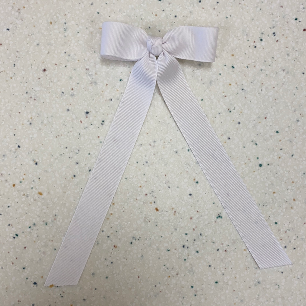 Petite Bow with Tails in White  - Doodlebug's Children's Boutique